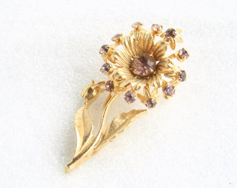 Purple Rhinestone Flower Brooch Vintage Amethyst Purple Riveted Pin