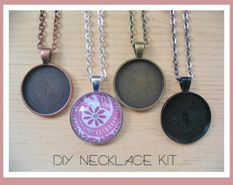25pc..DIY Circle Pendant Tray Necklace Kit..25mm...includes chains, glass tiles,  trays..Mix and Match color trays.