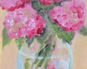 Pink Hydrangeas in glass vase - original 8x6