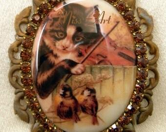 Kitten Cat Fiddler Playing to Birds Whimsical Whimsy Vintage Ephemera Porc Cameo Brooch OR Pendant Rhinestones Miss-art SparklingTreasures2U