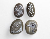 Painted River Rocks /Home decor /Room decor /interior design element /napkin holder /white gray /natural hand painted rocks / bird art /