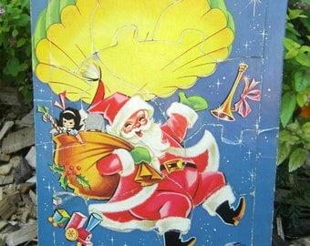 Vintage Santa Puzzle - Parachuting Santa - Sky Diving Santa Puzzle - Large Puzzle - Frame Tray Puzzle - Childrens Puzzle - Saalfield Puzzle