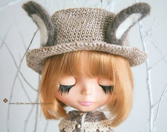 Jiajiadoll- hand knitting cream rabbit bunny ear straw hat fits  Blythe / SD BJD