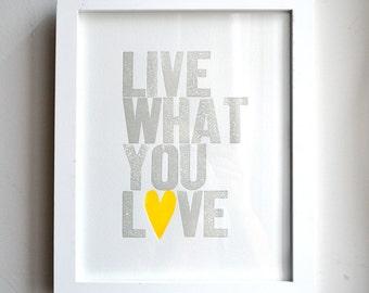 Live What You Love Special Edition Neon geel hart - uitverkoop!