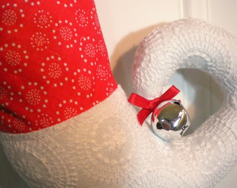 Christmas Stocking in Red and White Print with Curly Elf Toe