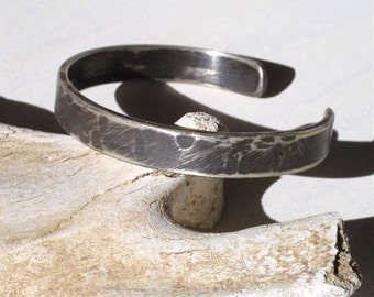Deep Tarnish Sterling Silver Cuff for Men - Rugged, Masculine Jewelry