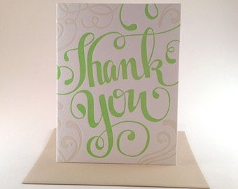 Thank You Hand Lettered Letterpress Card