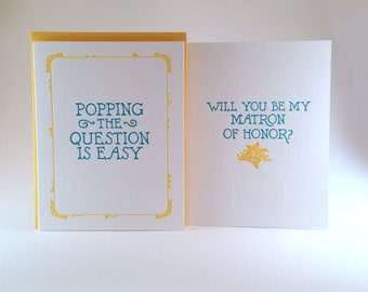 Will You Be My Matron Of Honor Letterpressed Card (individual card)