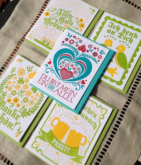 Letterpressed German Occasion Card Set (5 cards)