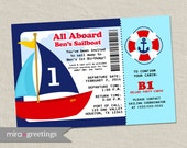 Sailboat Birthday Invitations - Sail Birthday Party Invites - Boarding ticket pass (Printable Digital File)