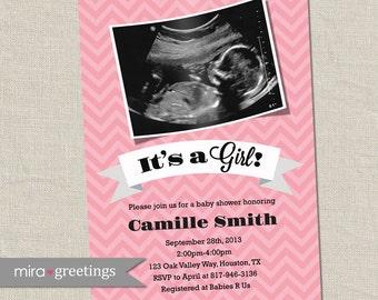 Ultrasound Baby Shower Invitation - Girl or Boy Sonogram Baby Shower Invite (Printable Digital File)