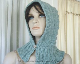 PDF, Knitted Hood Pattern, Hoodie Pattern, Hooded Hat Pattern,  Elegant Hoodie Pattern, Hooded Hat with Collar Pattern