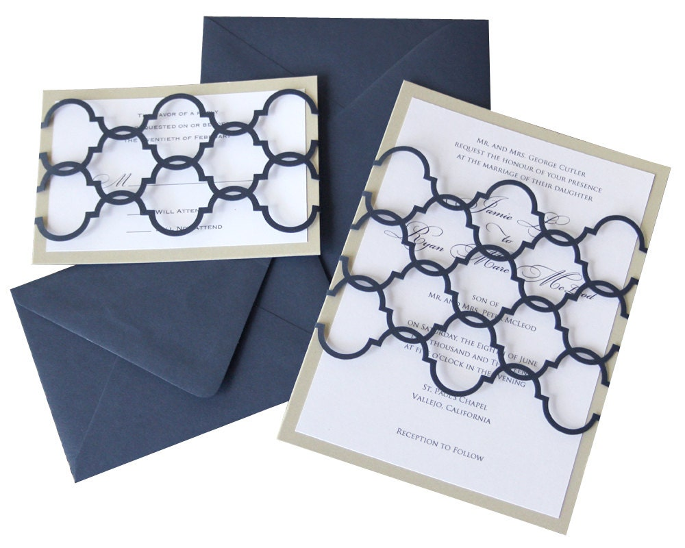 Moroccan Wedding Invitations: Moroccan Wedding Invitations Bohemian Navy Blue Pattern