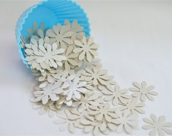 100 Pieces--Silver Daisy Flower Confetti. Wedding Party. Baby Shower. Embellishments. Die Cuts. Punched Confetti (100)
