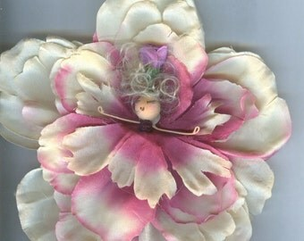 Deluxe Blonde Flower Fairy with Pink and Cream Petals