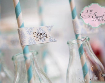 FRILLY DAMASK BAPTISM Printable Drink / Straw Flags - Boy