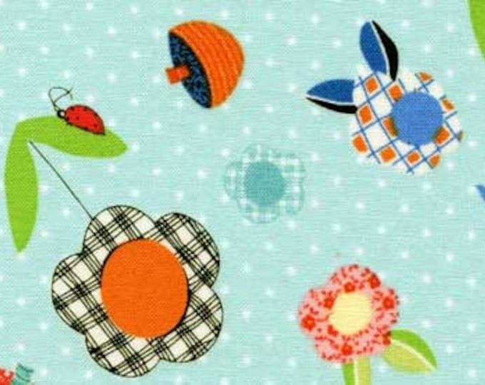 ABC Fabric Children's Fabric Patchwork Pals Blue Multi Tossed Flowers Cotton by Red Rooster Fabrics