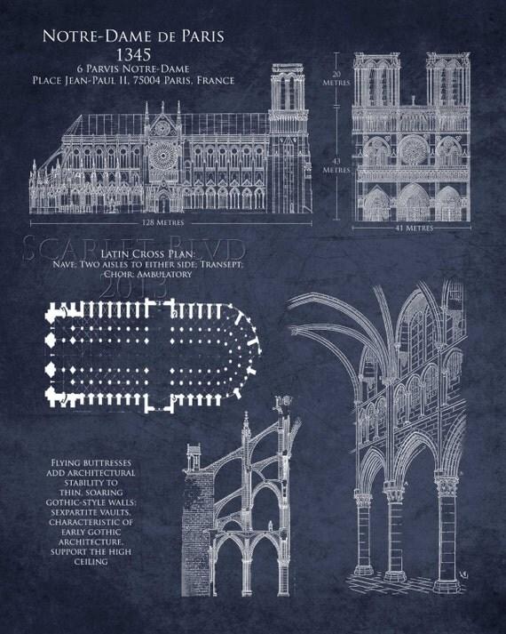 Architecture Blueprints Art notre dame de paris cathedral blueprint art print