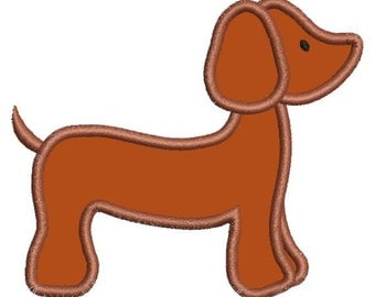 Applique Dachshund Dashound Doxie Dog Machine Embroidery Designs Instant Download Sale 4x4 and 5x7