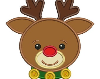 Applique Rudolph Red Nose Reindeer Christmas Machine Embroidery Designs 4x4 & 5x7 Instant Download Sale