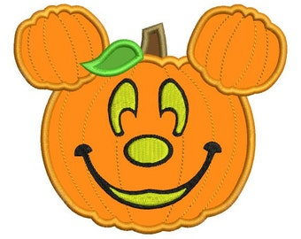 Applique Mickey Mouse Pumpkin Jack o Lantern Machine Embroidery Designs 4X4 and 5X7 Included - Instant Download Sale