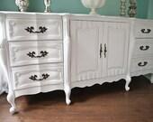 custom order 9 drawer dresser shabby chic distressed white vintage french provincial cottage prairie glam FABULOUS