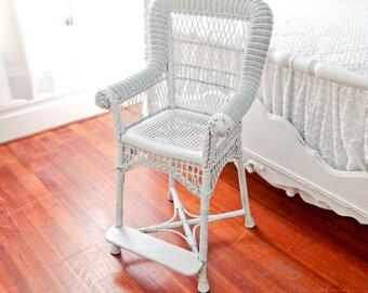 victorian high  hi chair antique wicker shabby chic white booster cottage prairie