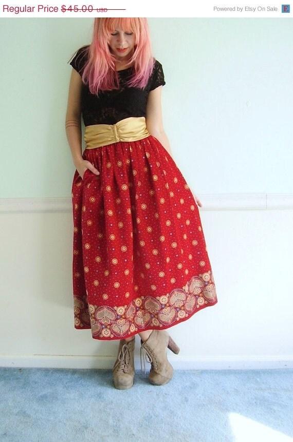 25% OFF . . . Red Velvet High Waist Maxi Skirt Vintage 80s Victor Costa Designer FULL - XS