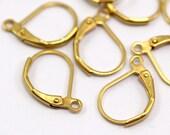 Leverback Earring Finding, 50 Raw Brass Plain Leverback Earring Findings (16x10mm)  BS 1102--A0896