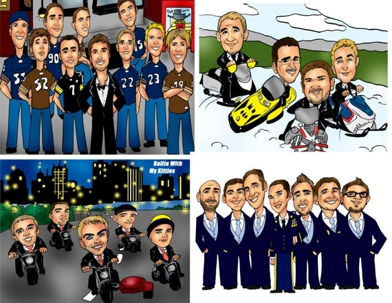 Groomsmen party gift caricature