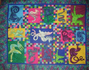 ePattern - Quilt pattern - Dragons Alive - fantastic scrappy applique dragon quilt pattern
