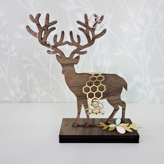 Standing Deer Jewelry Organizer, jewelry holder, jewelry hanger, wooden home decor, jewelry display