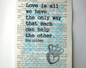 Love is all we have print on a book page