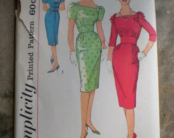 Vintage 1959 Simplicity 3184 Evening Cocktail Dress Pattern FF