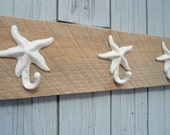 Barn wood towel rack 4 starfish sand dollar anchor mermaid or seahorse hooks on rustic barnwood