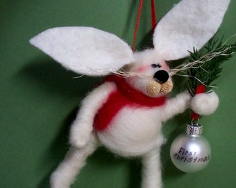 Bunny Felted Baby's First Christmas Ornament - NEW for 2013