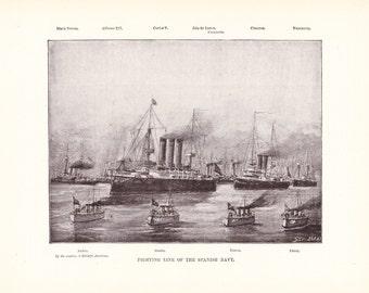 1901 Ship Print - Spanish Navy - Vintage Antique Home Decor Art Illustration for Framing 100 Years Old