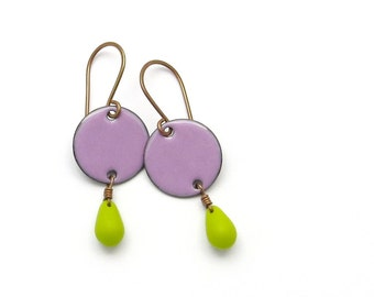 Lavender Purple Earrings with Chartreuse Green Glass Drops - Lilac Purple Enamel Earrings - Copper Jewelry