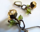 Free shipping citrine swarovski crystal peridot czech glass beads with antique gold brass leverback dangle earrigs