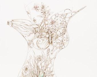 """Botanicalia """"Joycelyn"""" Original Drawing 19""""x24"""""""
