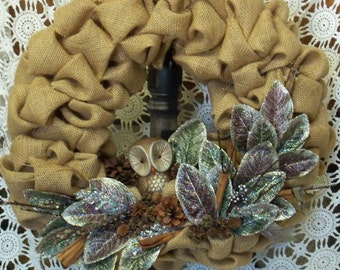 Beautiful Burlap Wreath with Miniature Owl, Glitter Frosted Magnolia Leaves, Cones and Twigs