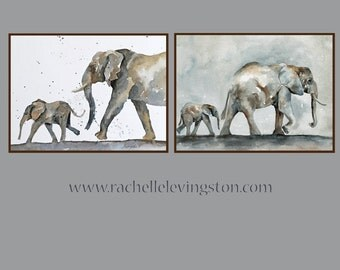 Elephant Art PRINT Elephant Baby wall hanging Nursery art print Children art print elephant painting Elephant PRINT SET watercolor