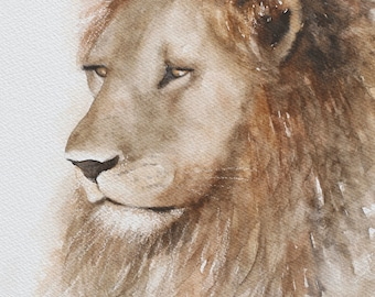 Painting of Lion painting lion art PRINT Lion PRINT from original lion painting animal wall hanging watercolor 11x14  boy room decor jungle
