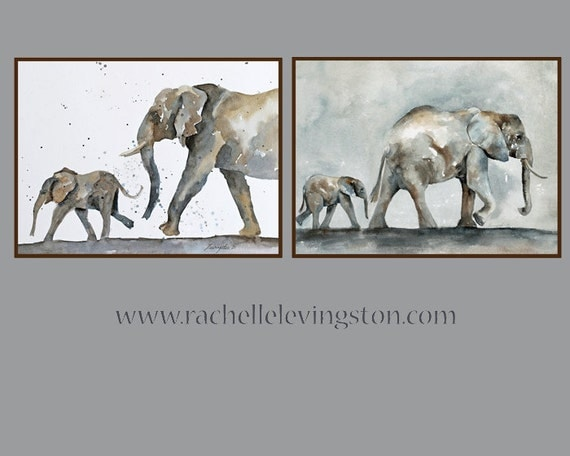 Elephant Art PRINT Elephant Baby wall hanging Nursery art print Children art print elephant painting Elephant PRINT SET watercolor 8x10
