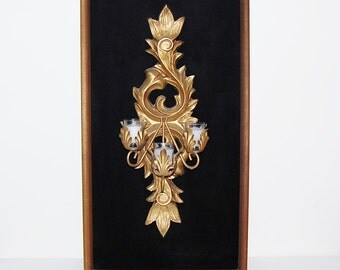 Vintage Gold Gilt Baroque Wall Hanging on Velvet.....Grande