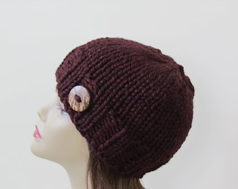 Chunky Knit Hat Knit Hat Winter Hat Women Teens  in Claret with Coconut Shell Button Accent - Ready to Ship - Direct Checkout