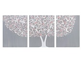 Gray and Pink Nursery Wall Art - Textured Tree Painting on Canvas Triptych - Medium 35x14
