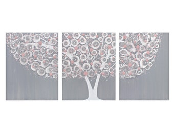 Painting on Canvas - Gray and Pink Nursery Wall Art Tree Triptych - Medium 35x14