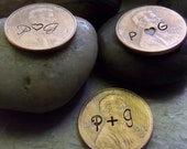 Penny favors, with initials stamped in front only, 50 pennies