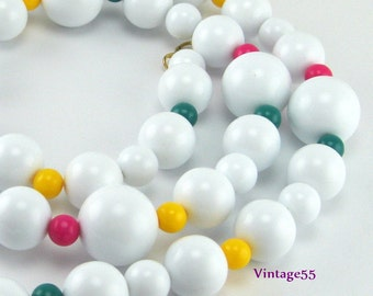 Beaded Necklace White pink yellow green